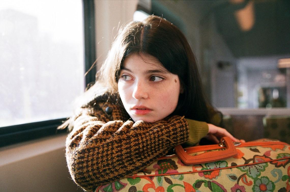 sad girl on train
