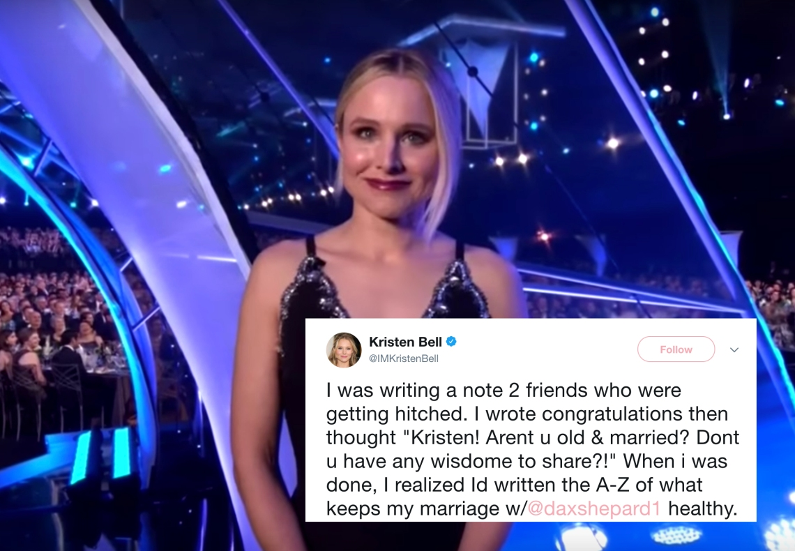 Kristen Bell at the 2018 SAG awards and a tweet