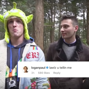 Logal Paul from his suicide forest video plus a comment from instagram