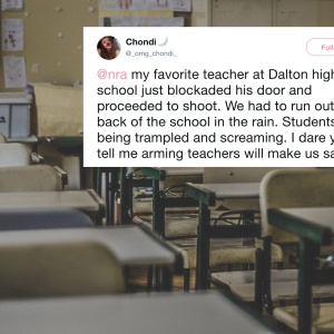 An empty highs school classroom and a tweet about a school shooting