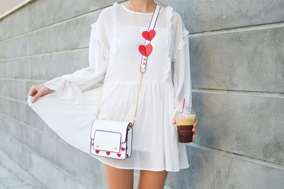 White dress iced coffee