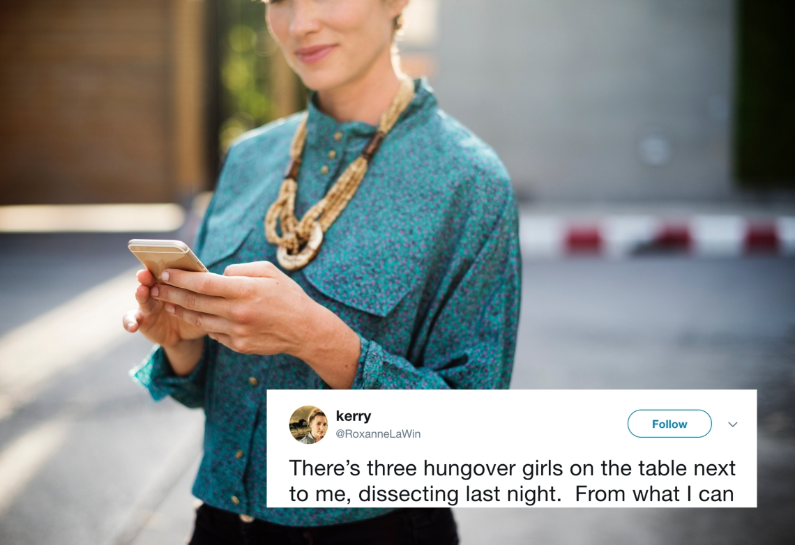 Woman look at her phone and a tweet about women who go out at night