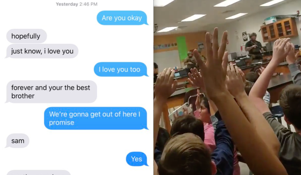A text conversation between two brothers at the Florida shooting and a video from inside the school