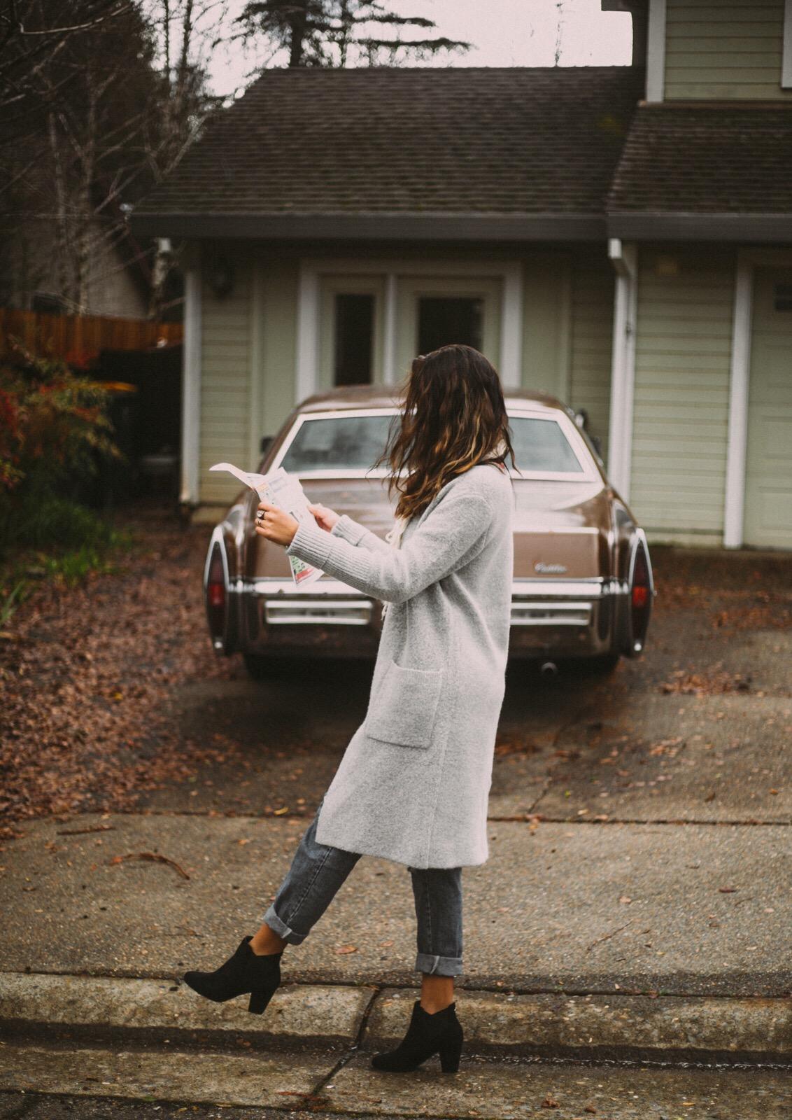 woman walking along curb