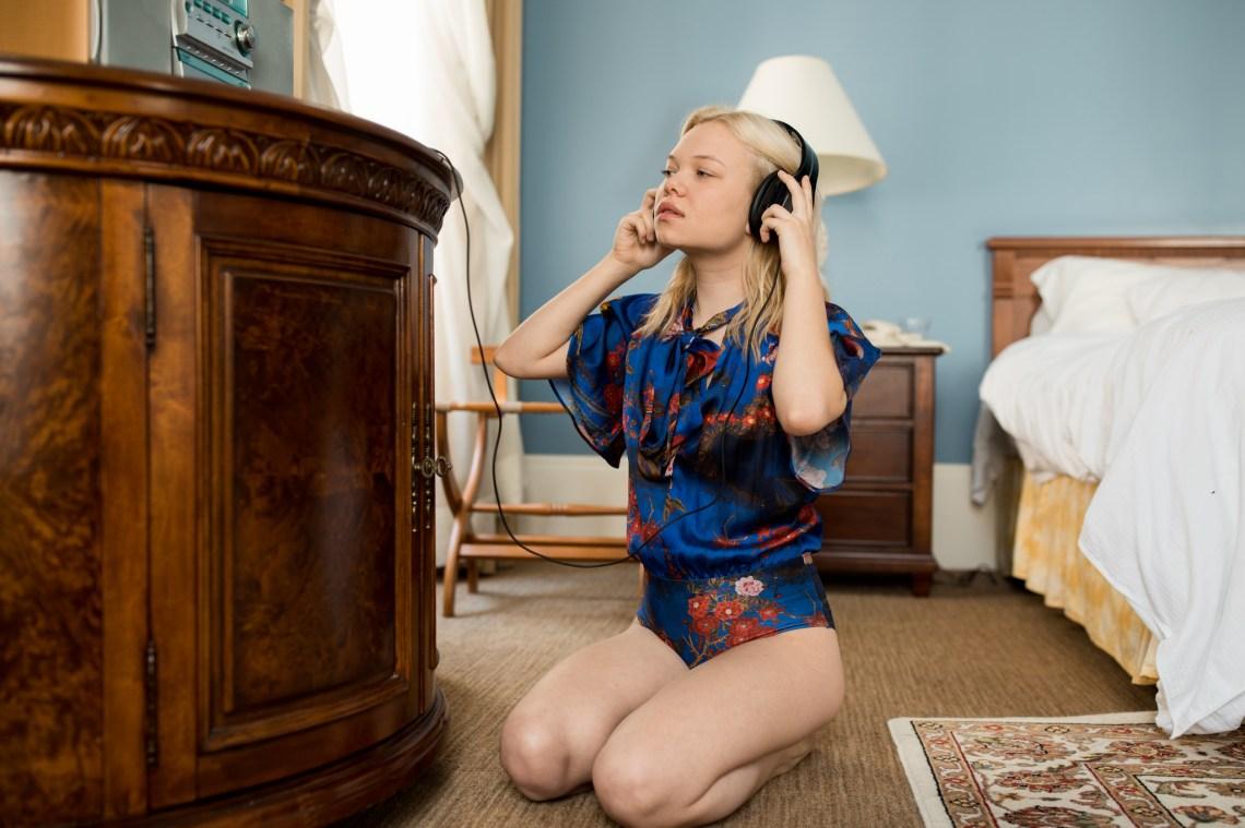 A girl listening to breakup songs