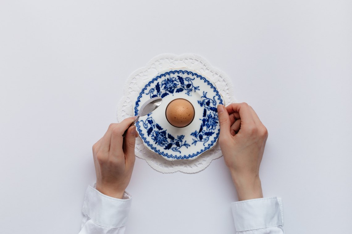 White background with blue plate