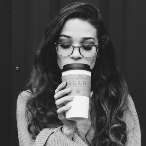 girl glasses coffee lashes