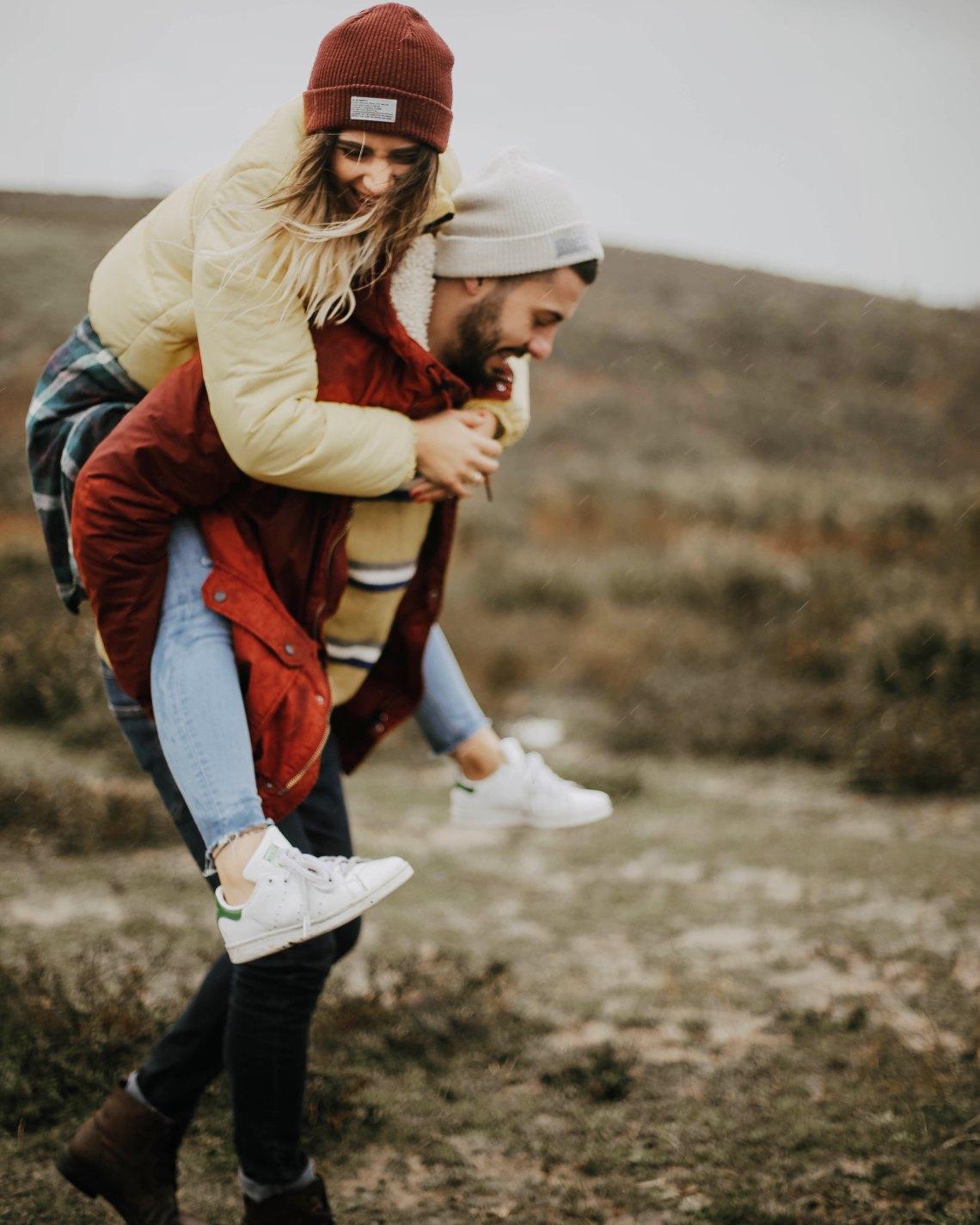 A girl chasing a boy