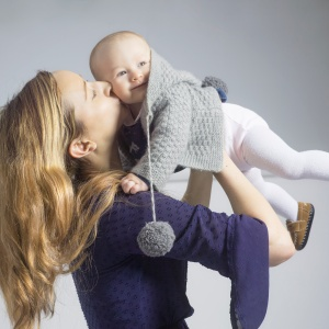 mother and baby kissing