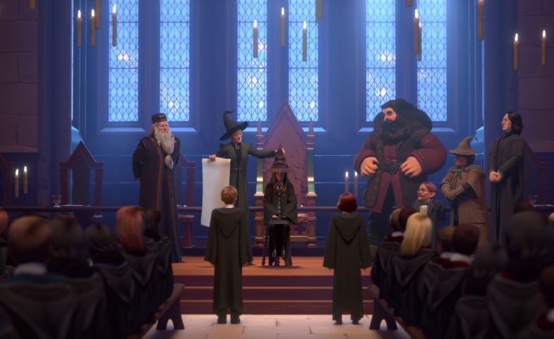 A screenshot from the trailer of the new Harry Potter mobile game during the sorting hat ceremony