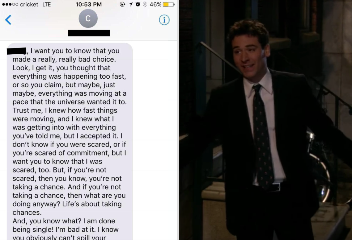 A text from a 'nice guy' and ted mosby from How I Met Your Mother