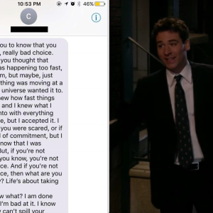 This 'Nice Guy's' Cringe-y Text To The Woman Who Rejected Him Was Actually Just Quotes From 'How I Met Your Mother'