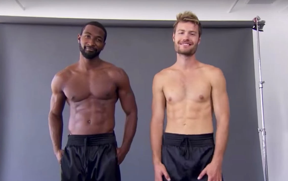 Two male models show off their male lingerie