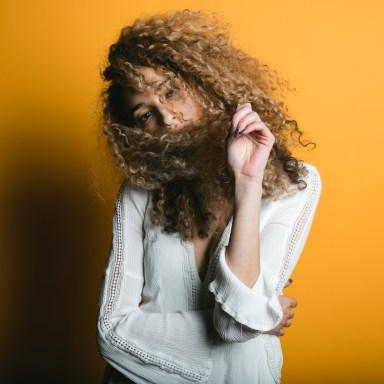 woman looking shy