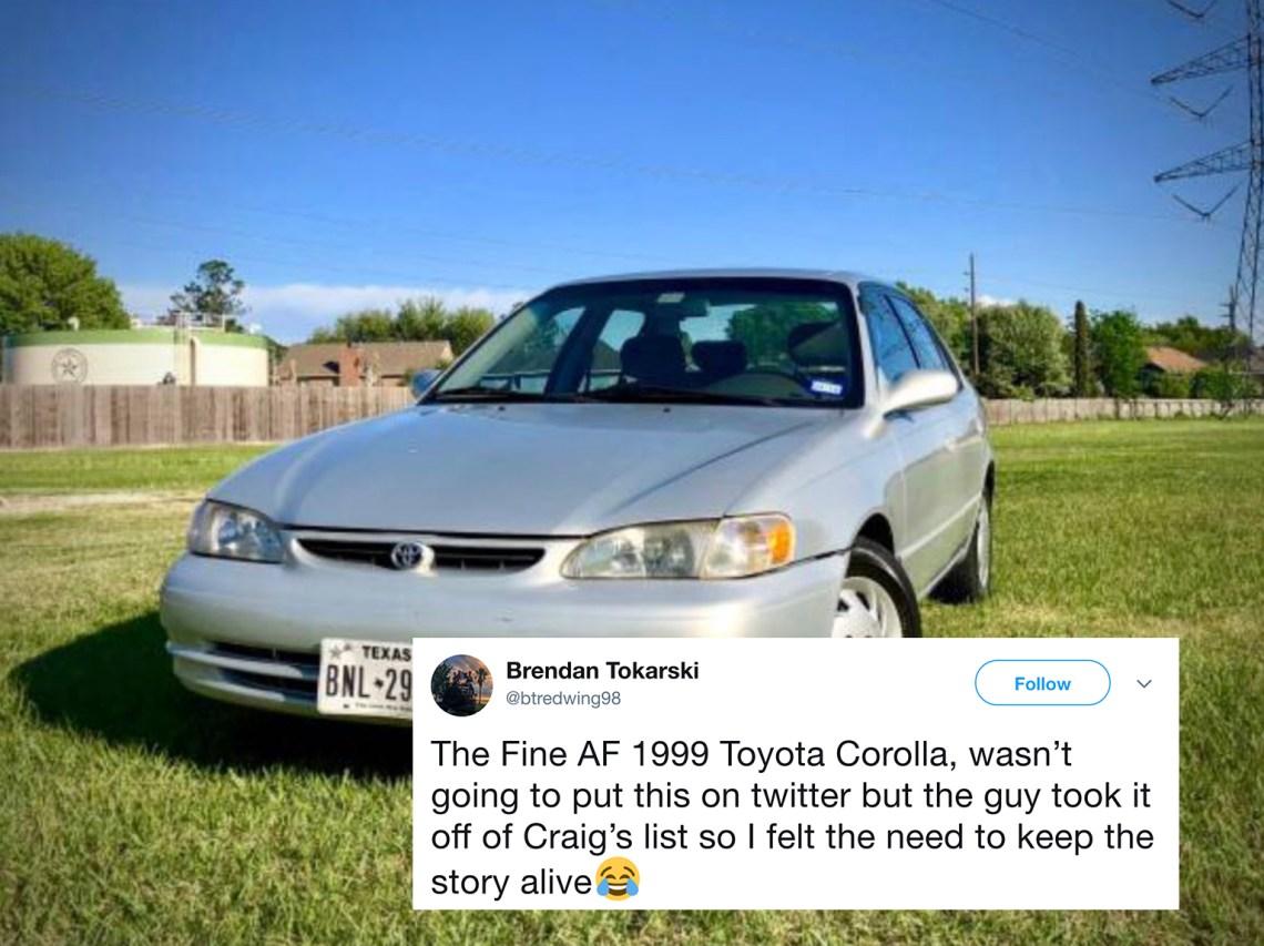 Toyota Corolla ad on Craigslist
