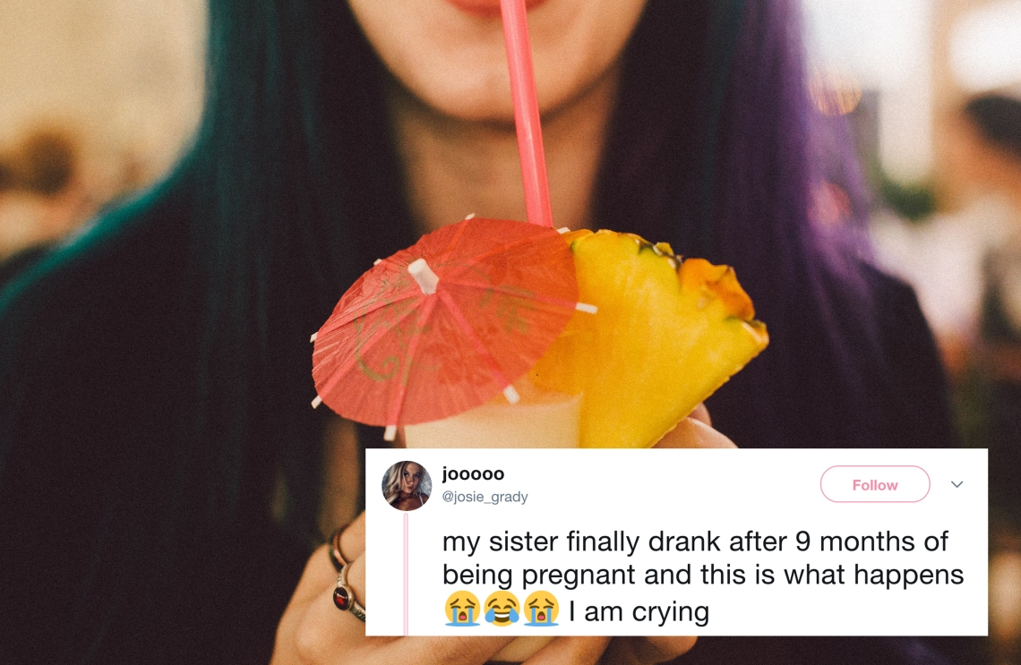 A woman sipping on a pina colada and a tweet about a drunk mom