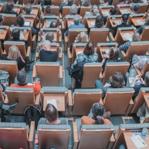 A lecture hall full of students during a class