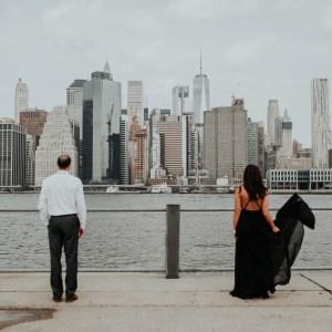 couple standing far apart