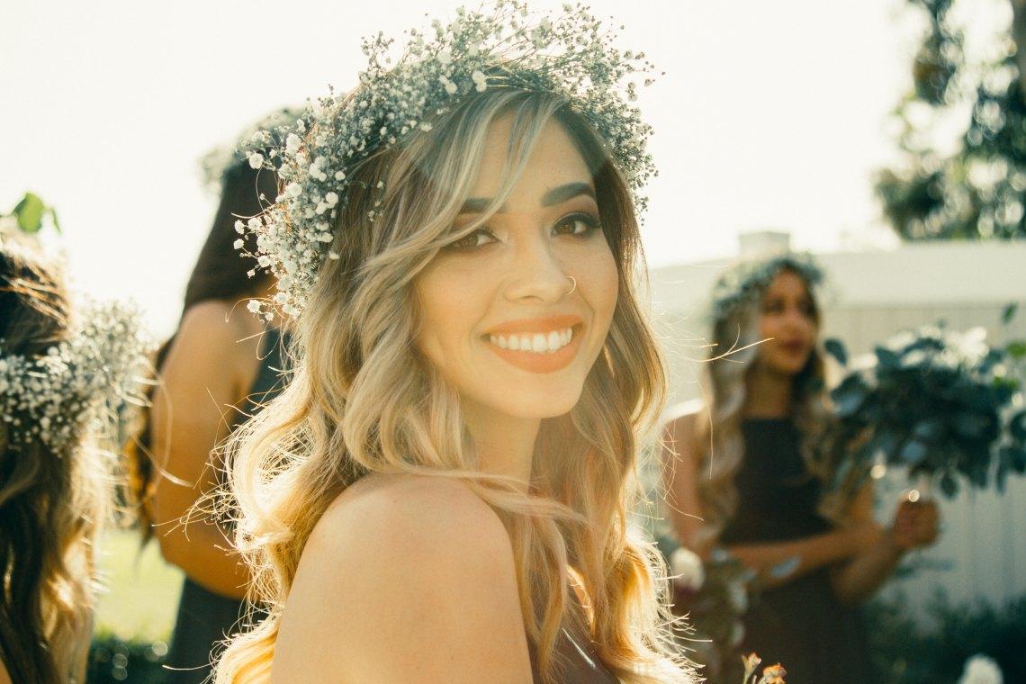 woman smiling in flower crown