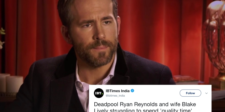 Ryan Reynolds Hilariously Clapped Back At A Tweet Claiming His Relationship With Blake Lively IsStruggling