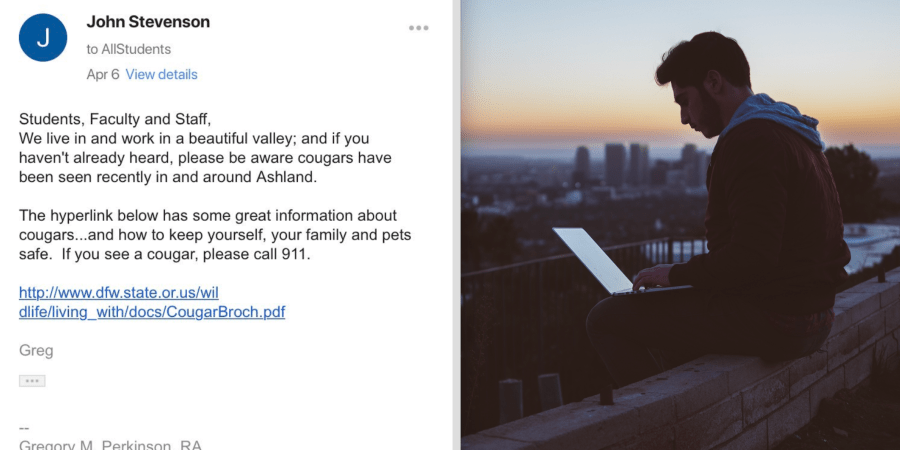 This Student Accidentally Sent His Hilarious Response To An Email About Cougar Sitings To The Entire School And The Internet Can't StopLaughing