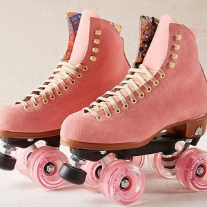 Moxi roller skates in millennial pink from Urban Outfitters