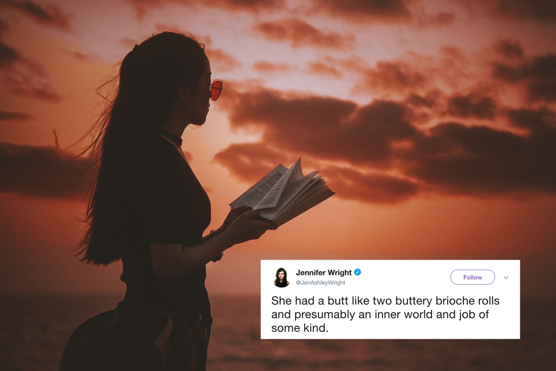 A woman reading a book in the sunset