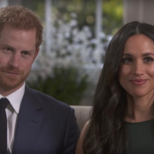 Harry and Meghan Markle in an interview about their engagement