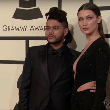 The Weeknd and Bella Hadid at the GRAMMY's red carpet