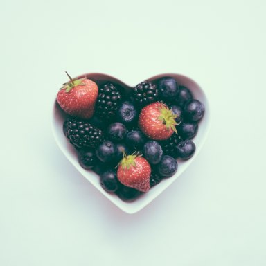 heart shaped bowl of fruit