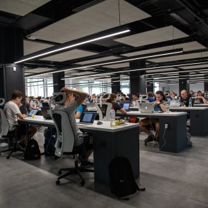 An office with communal desks