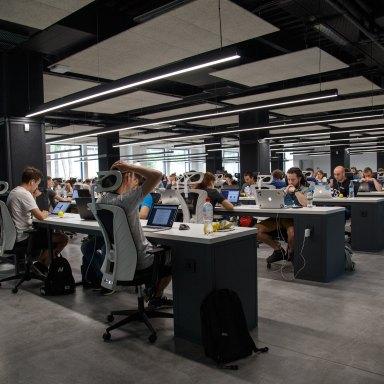 An office with communal desks