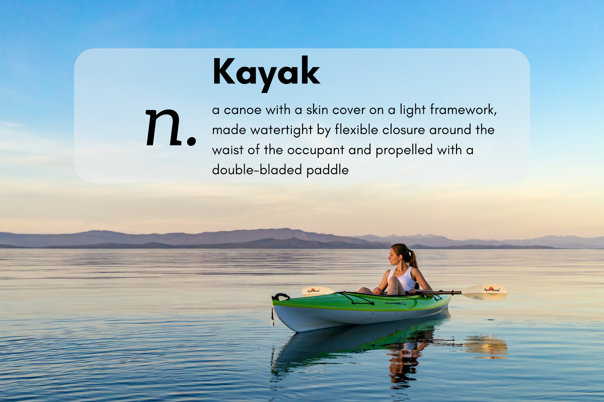 Kayak (n.)a canoe with a skin cover on a light framework, made watertight by flexible closure around the waist of the occupant and propelled with a double-bladed paddle