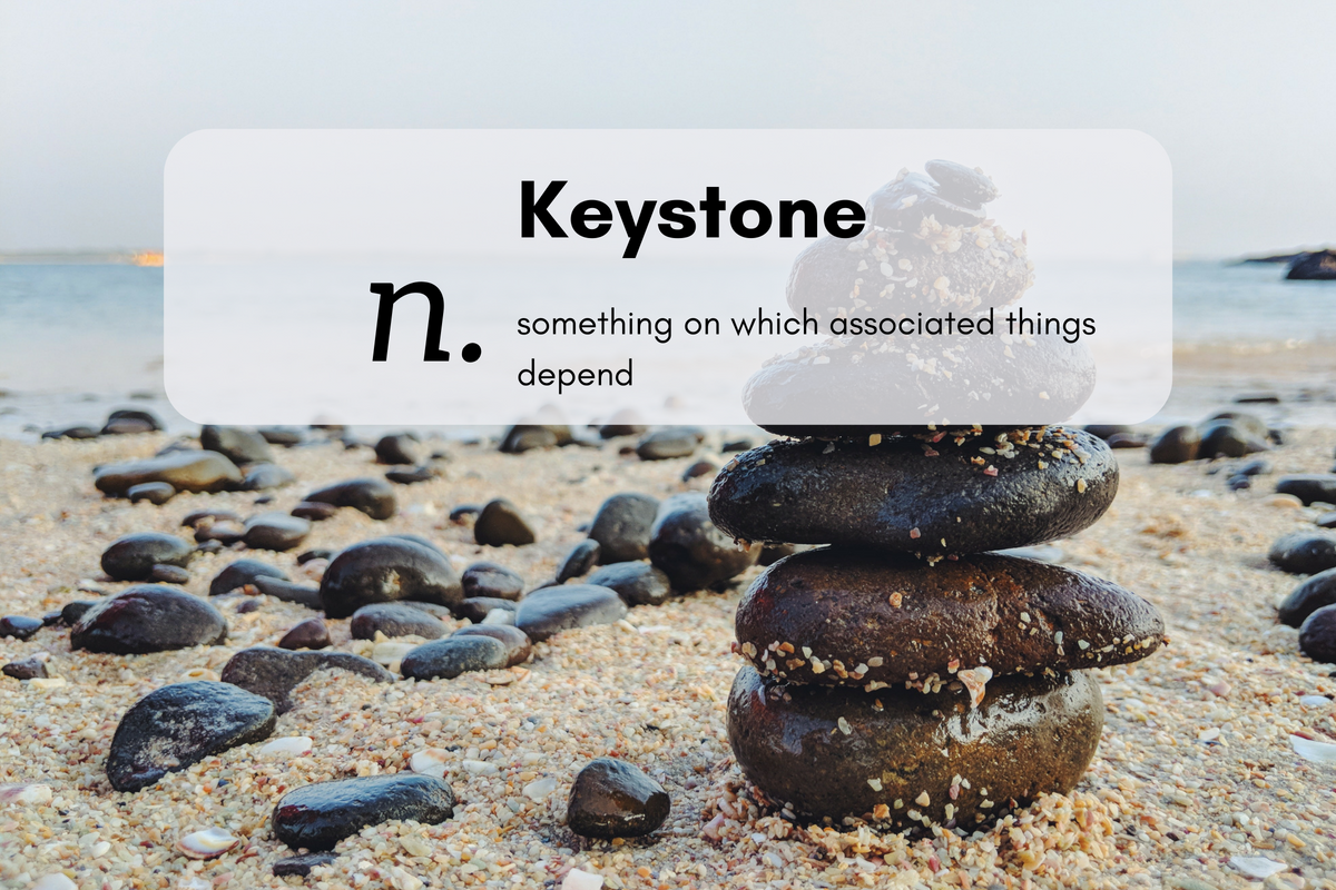 Keystone (n.)something on which associated things depend