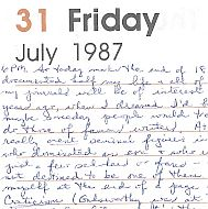 A Writer's Diary Entries From Late July, 1987