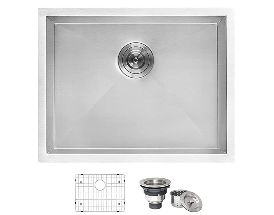 "Ruvati 24"" x 18"" x 13"" Deep Laundry Utility Sink Undermount 16 Gauge Stainless Steel - RVU6124"