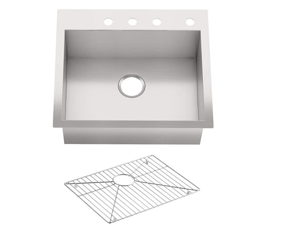 """KOHLER Vault 25"""" Single Bowl 18 Gauge Stainless Steel Kitchen Sink with Four Faucet Holes K-3822-4-NA Drop-in or Undermount Installation, 9 Inch Bowl"""