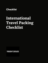 international travel packing checklist