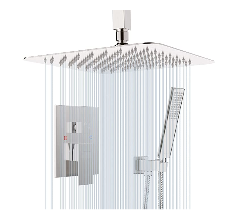 EMABATHER Shower System-Brushed Nickel Ceiling Shower Faucet Sets with 12 Inches Antrust-Coating Rain Shower Head and Handheld-Shower Combo Set for Bathroom- Eco-Friendly(Valve included)