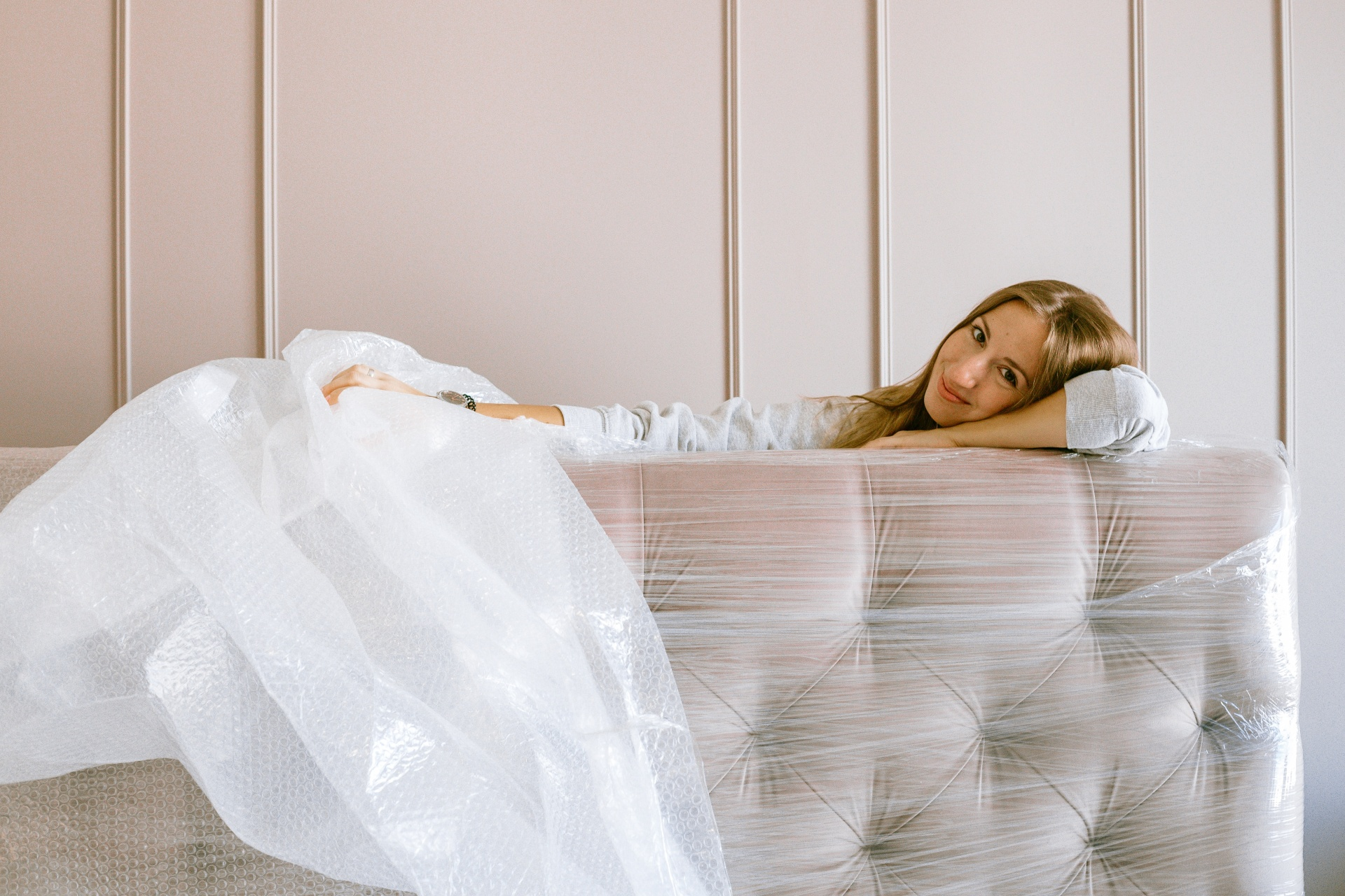 Woman Posing with Her New Headboard