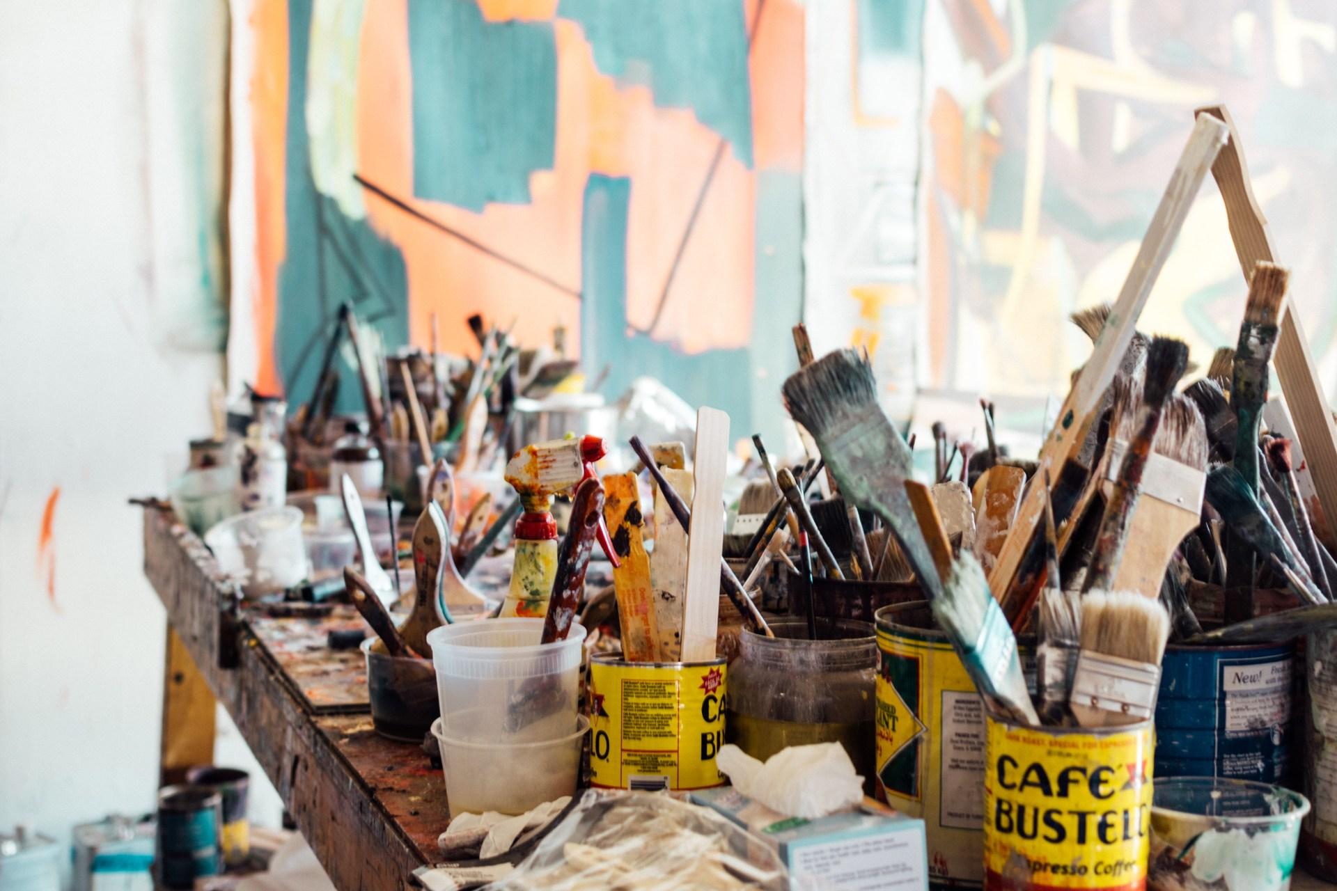 Art supplies clutter