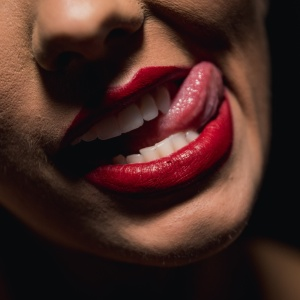 woman with red lipstick and red lipstick photo