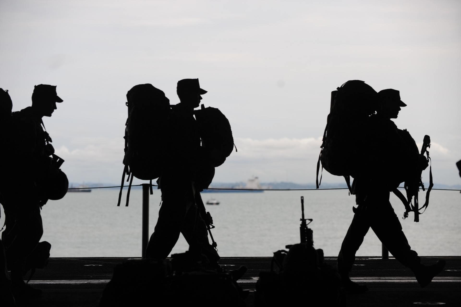 Line of Soldiers Walkin